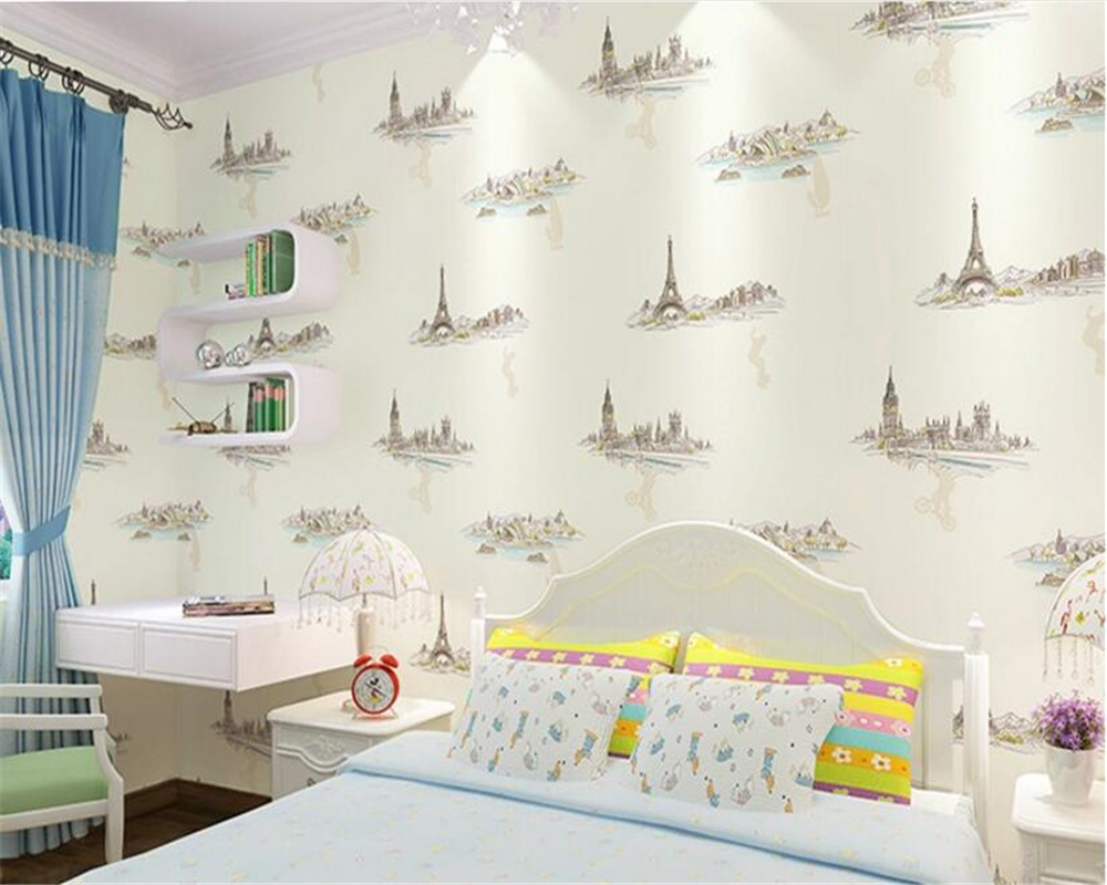 Us 3258 40 Offbeibehang Kids Stereo Wallpaper Personality Fashion Boy Girl Room Bedroom Green Background Wall Papers Home Decor Papier Peint In