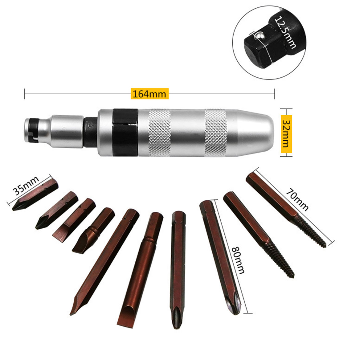 Image 4 - 7pcs Multi purpose Heavy Duty Shock screw Driver Chisel Bits Tools Socket Kit Impact Screwdriver Set With Case Flat-in Screwdriver from Tools