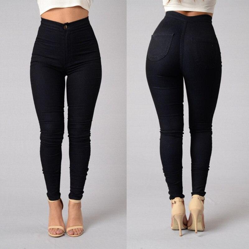 Plus Size 3XL High Waist Casual Stretch Women Pencil Pants Button Female Trousers Ladies Solid Colors Pencil Pants HO954031