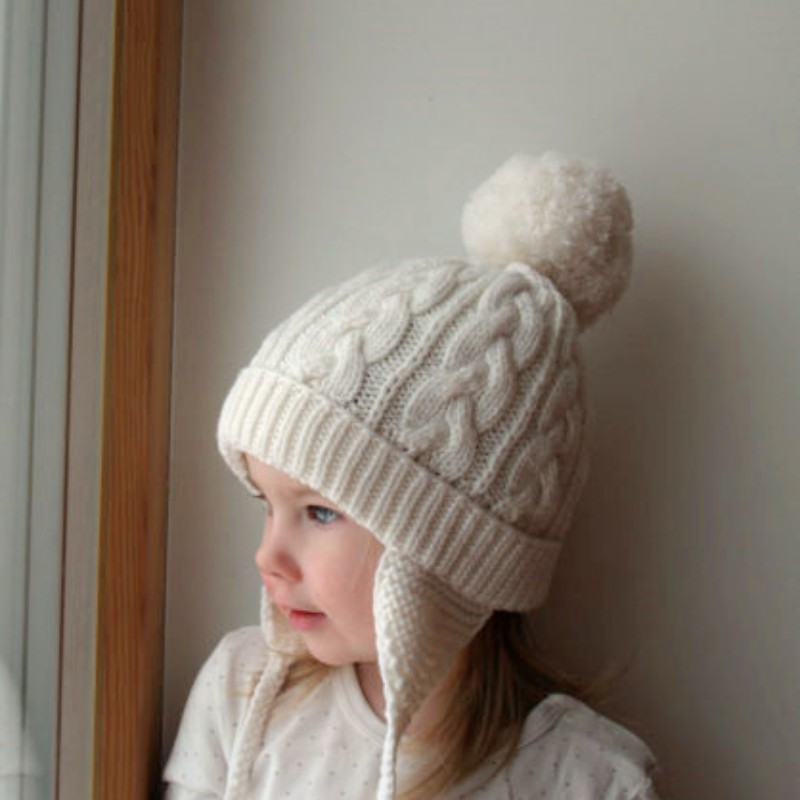 Winter Children Hat Knit Cotton Baby Kids Woolen Hat Children Ears Beanie Thick Soft Warm Cap Wool Ball Decoration Hats