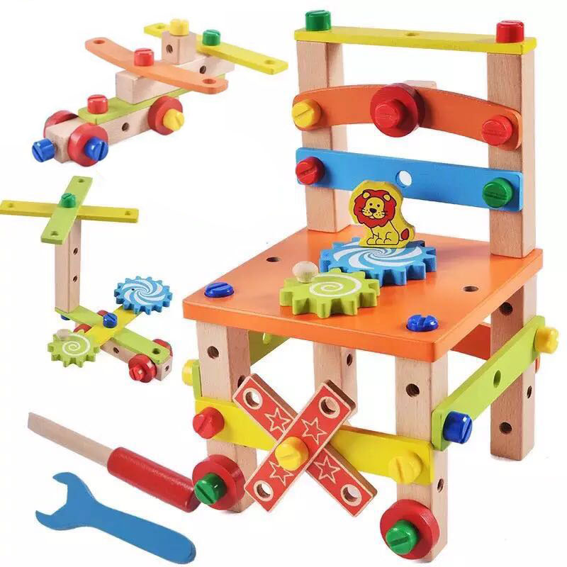 Kids Colorful  Multifunctional Assembling Chair Toys Wooden Design Disassembly Tool For Children Learning Educational Wooden Toy