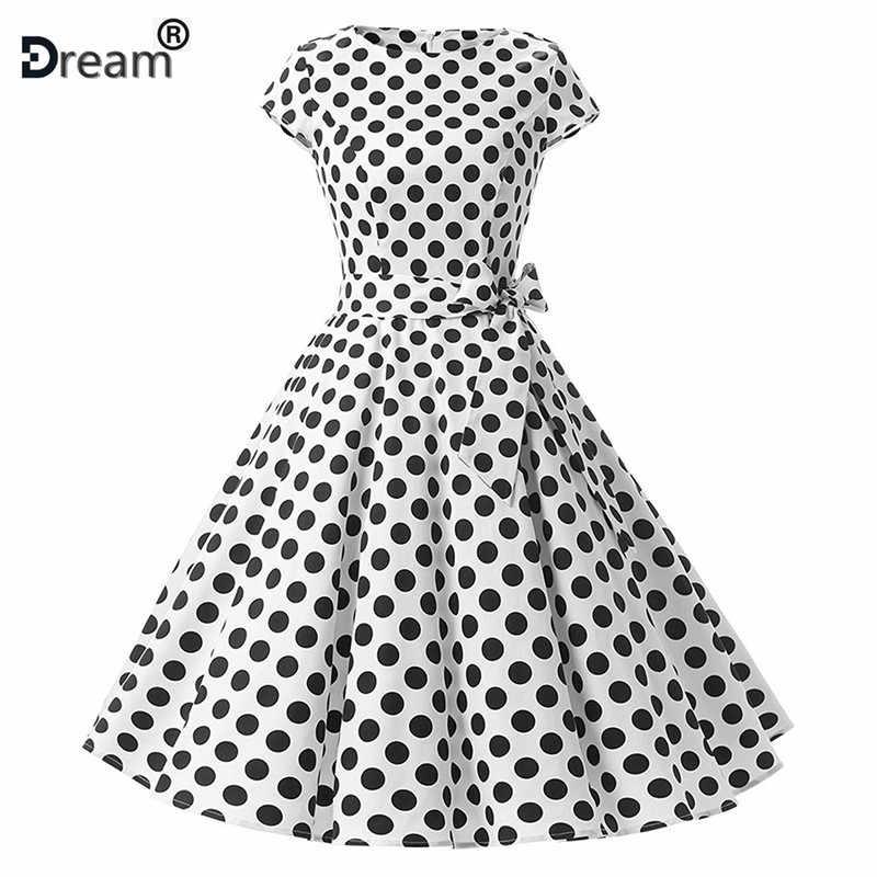 Elegant Polka Dot ชุดสาย Audrey Hepburn robe Retro Swing Casual 50 s 60 s Retro Rockabilly ชุดเดรสวินเทจ vestidos 2019