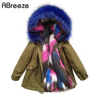 Winter children fuax fur New Multicolored fur for girls fashion warm baby fur coats girls 2T 7T 11T hooded style big girls coats