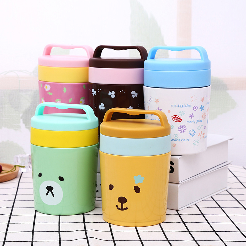 YIHAO 450ML High Quality Hot Sale Vacuum beaker insulation porridge Cartoon childrens mug