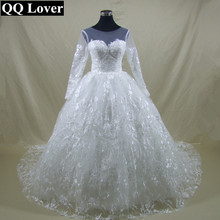 QQ Lover 2017 New Illusion Empire Luxury Lace Wedding Dress Custom-made Vestido De Noiva Bridal Gowns
