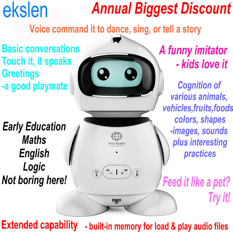 ekslen Smart Early Education Learning Robot With Voice Recognization Imitation Story Teller Nursery rhyme novel gift for kids cookie s nursery rhyme video