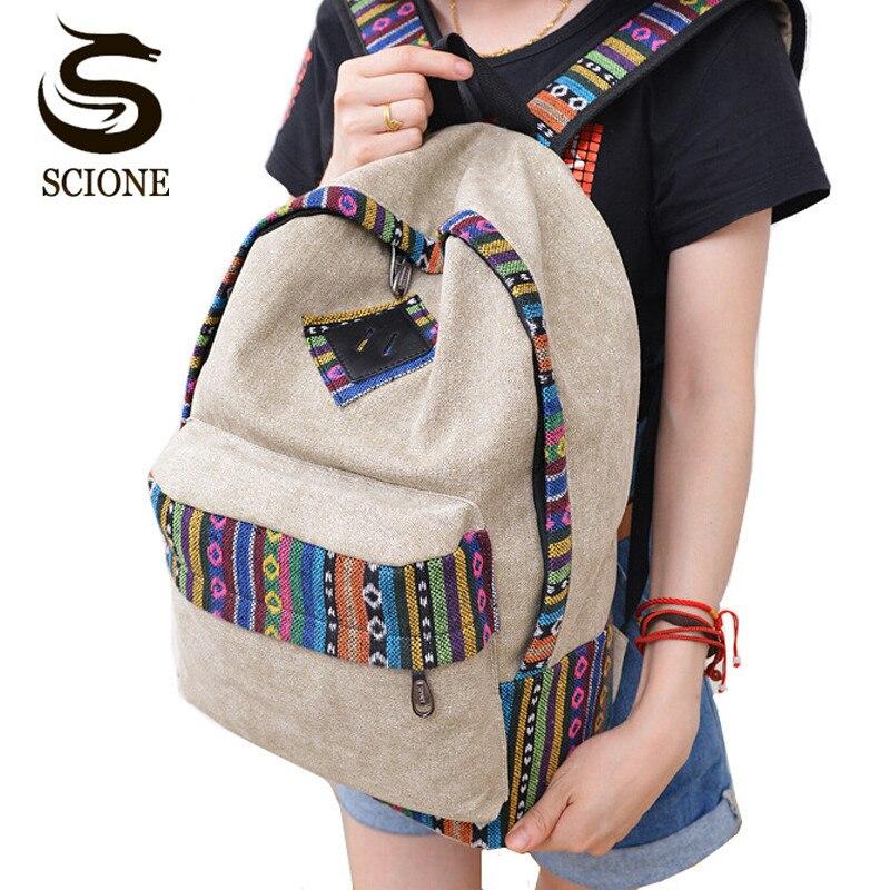 Escola do vintage mochila feminina mochilas para adolescentes meninas lona estudante saco de livro nacional bolsas de saco
