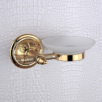 Soap Dish Holder Golden Luxury Glass Soap Dishes With White Wall Mounted Bathroom Soap Box For