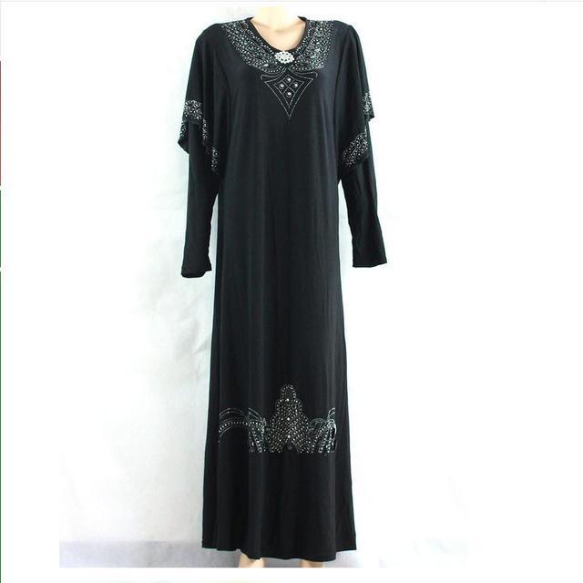 2XL Плюс Размер Алмазов Взрослой Моды Абая Черный Сплошной Цвет Бисером Джилбаба И Abayas Мусульманин Исламская Арабских Женщин Платье W707