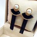 Luxury Crystal Tassel Long Earrings For Women Bijoux New Design Fashion Party Jewelry Wholesale Gold Plated Black Fine Quality