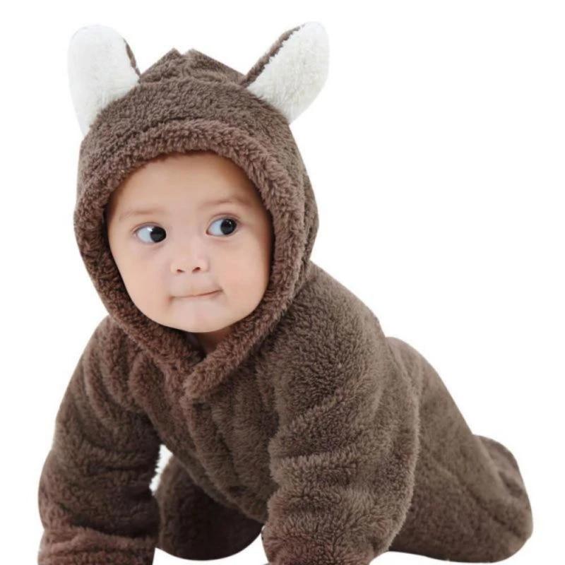 Chennie Baby Boy Girl Coral Fleece Hoodies Soft Winter Warm Hooded Bodysuit Jumpsuit