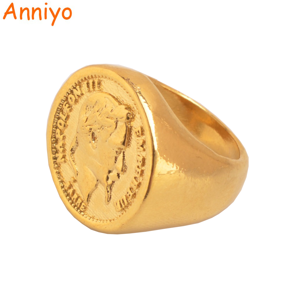 Anniyo New Turkish Coin Ring Gold Color and Copper Metal Ring for Women/Men,Arab Turkey Wedding Big Rings Jewelry Gifts #097106 цена