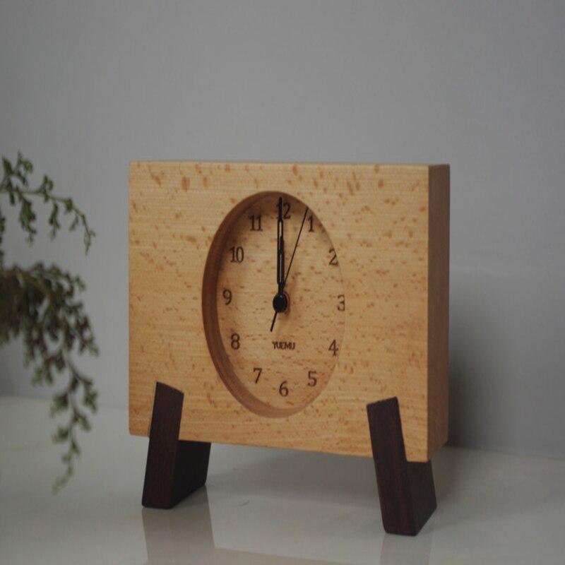 Beech Wood Alarm Clock Wood Table Clock Japanese Creative Mute Wood Bedside Clock Students Fashion Wood Clock