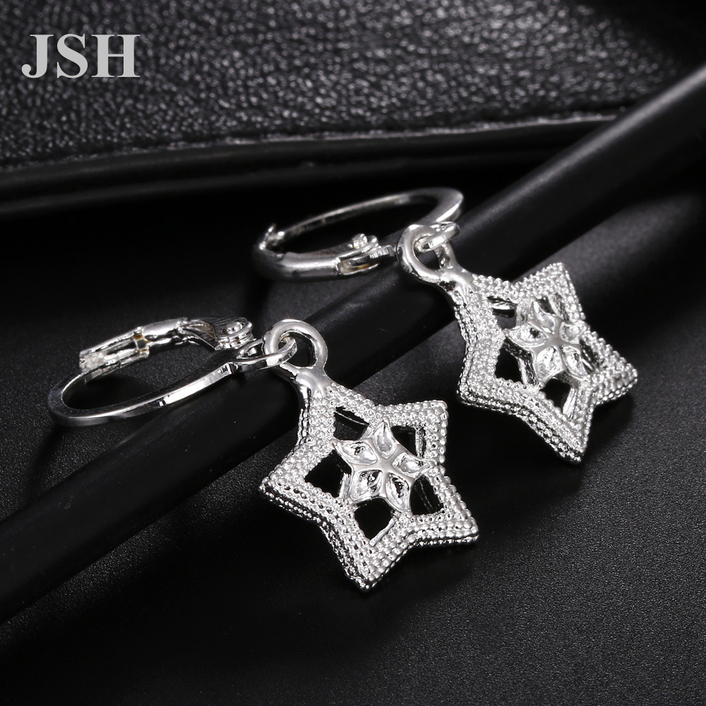 wholesale , For Lady women silver color earrings star charms wedding hook CUTE Bohemia fashion classic jewelry LE044 2