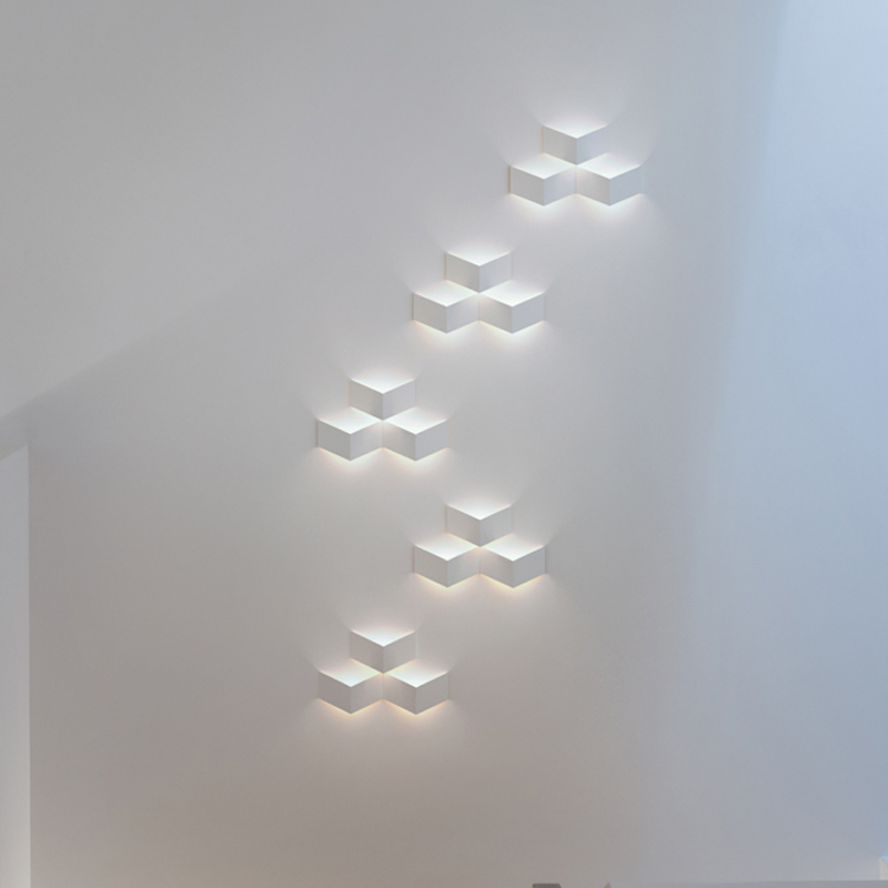 modern fashion flod magic led Wall Light aluminum Stereo Rhombus Ice Cube 3D Wall Lamp Geometry Square Grid Box indoor lamps