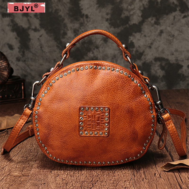 BJYL first layer of leather Women handbag genuine leather rivet pouch retro bills female shoulder bag small round messenger bag fctossr 2018 new retro genuine leather women handbag first layer of leather shoulder bag handmade leather diagonal female bags
