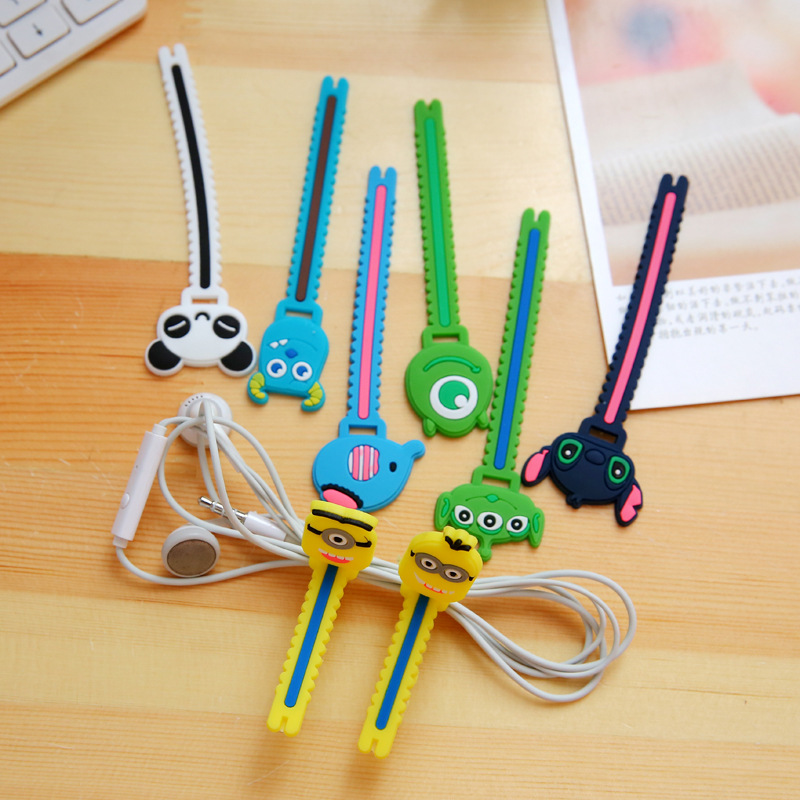 100pcs/lot Cute Rilakkuma Giraffe Cable Winder Clip Earphone Winder Silicone Cable Cord Holder For Earphone Organize Free Ship Cable Winder