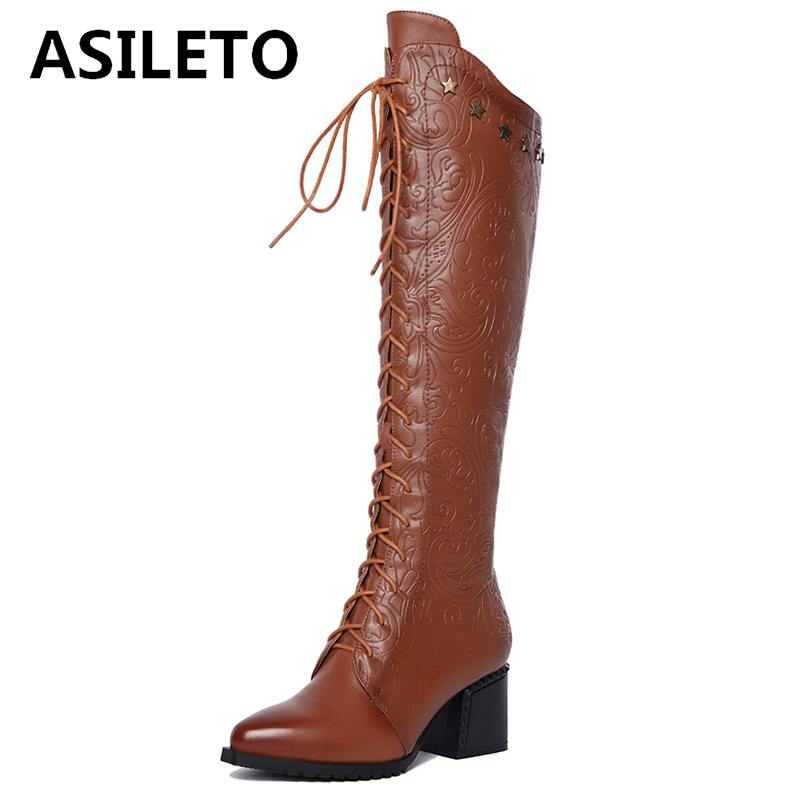 ASILETO Genuine Leather Boots Winter Women Knee boots Long boot Lace-up western motorcycle boots Shoes botte femme botas A777ASILETO Genuine Leather Boots Winter Women Knee boots Long boot Lace-up western motorcycle boots Shoes botte femme botas A777