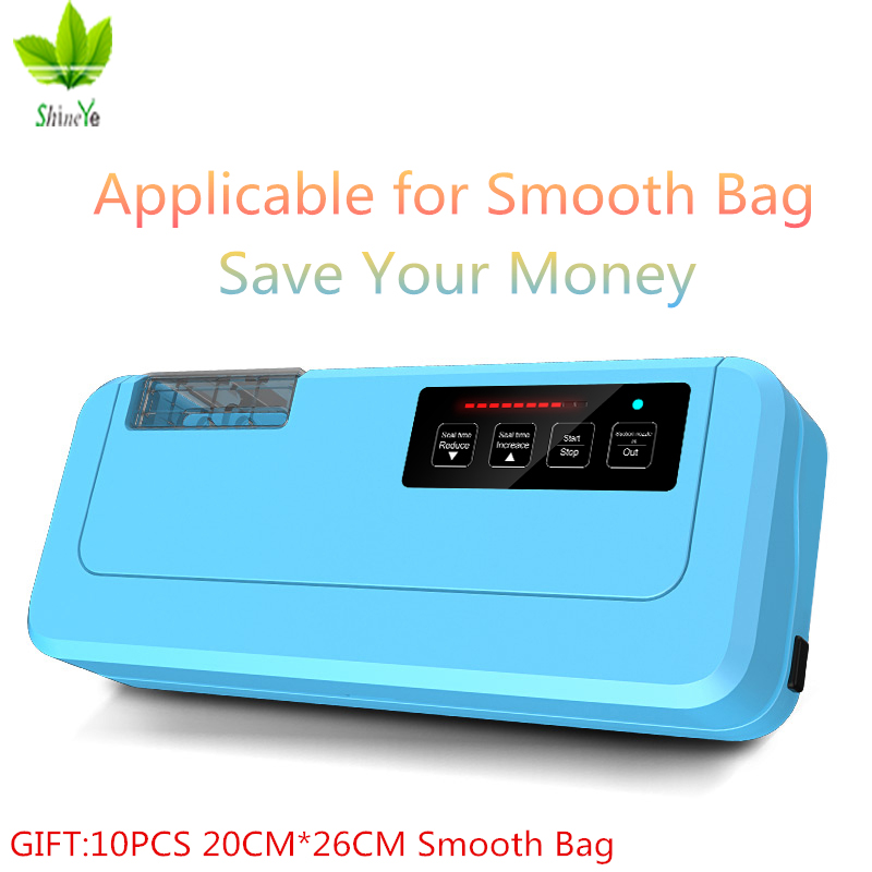 Three Coloer 2018 New Household Vacuum Food Sealer Packaging Machine P-290 Vacuum Packer Give 10PCs Vacuum Bags For Food