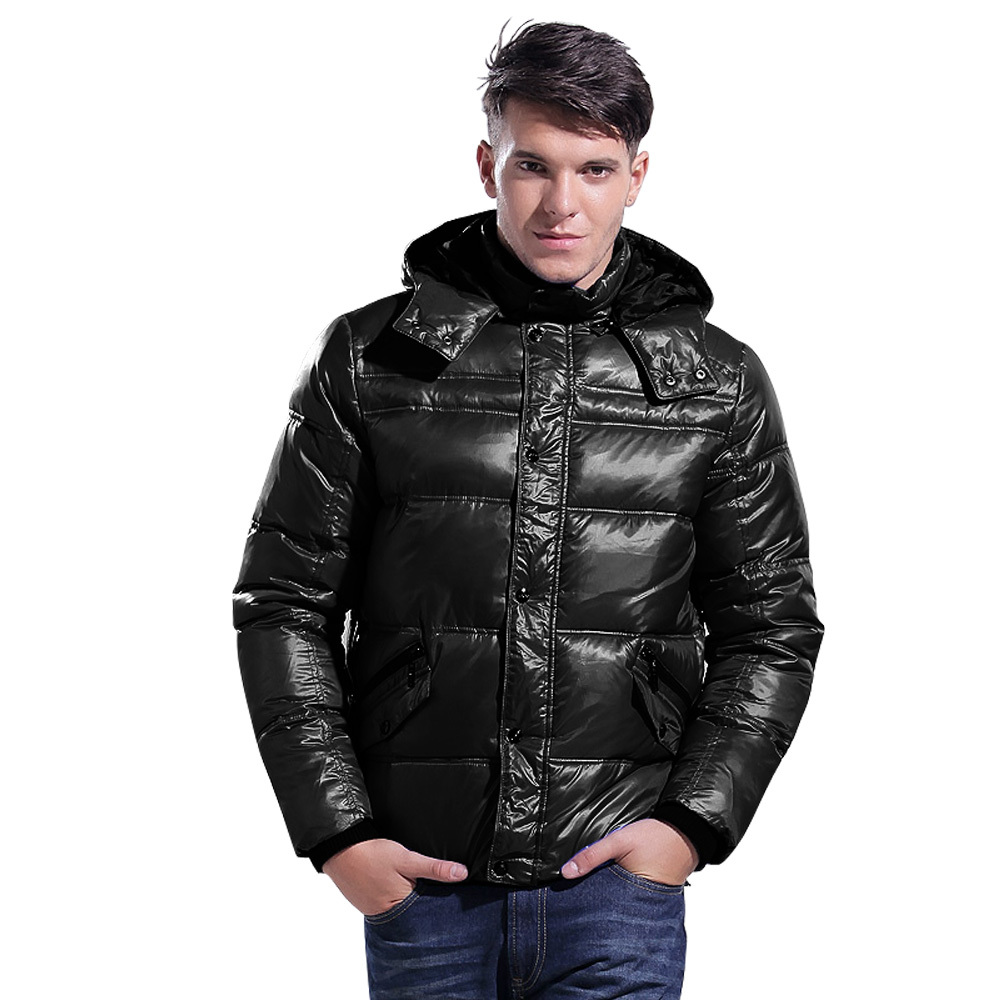 Lesmart Men's Winter New Padded Coat Jacket Fashion Casual Business Slim Fit Hooded Thicken Warm Solid Outdoors Outerwear