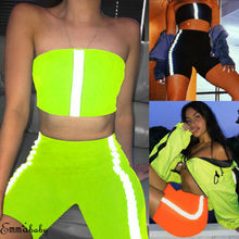 Women Bodycon Sexy Summer 2Piece Set Reflective Crop Top Shorts Casual  Clubwear