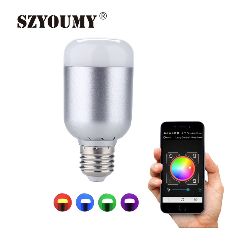 SZYOUMY RGBW LED Light Bulb E27 6W Bluetooth 4.0 Control Music Audio Energy Saving Smart Lamp Bulb RGB Lighting AC100-240V szyoumy e27 rgbw led light bulb bluetooth speaker 4 0 smart lighting lamp for home decoration lampada led music playing