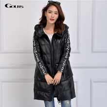 Gours Winter Women's Genuine Leather Duck Down Coat Brand Clothing Sheepskin Long Down Jackets and Coats Parka 2016 New Arrival
