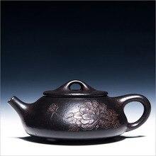 200cc Yixing Teekanne Authentic Lila Ton Handgefertigte Meister China Gesundheit Kung Fu Tee-Set Zisha Schwarz Gold Sand Pfingstrose Shipiao topf