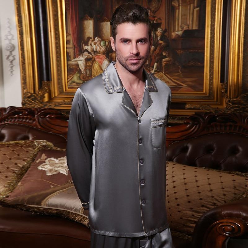 Sexy Genuine Silk Men's Pajamas 100% Silkworm Silk Sleepwear Male High Quality Long-Sleeve Pyjama Pants Two-Piece Sets 15076