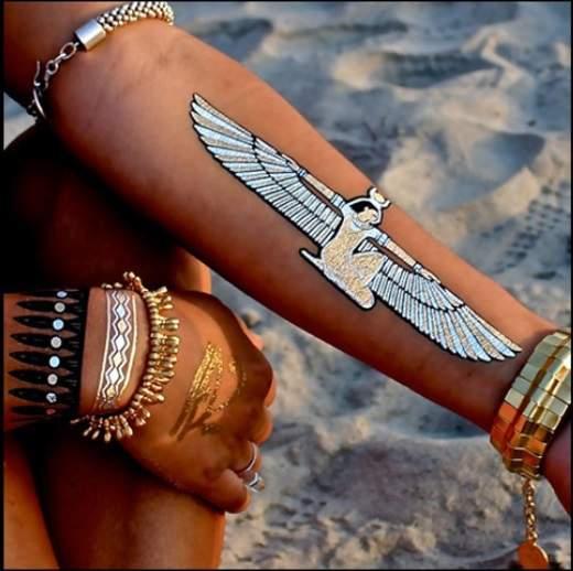 Online Shop Indian Arabic Designs Golden Silver Flash Tribal Henna