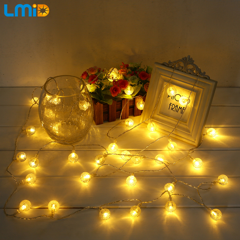 LMID 3M 4M Holiday Fairy Battery illuminato a sfera di cristallo lampeggiante LED String Lights For Christmas Wedding Garland Decoration
