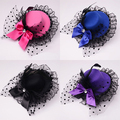 Señora Mini Top Hat Cap Bowknot Decor Cordón el Fascinator Del Pelo Clip Costume Accessory