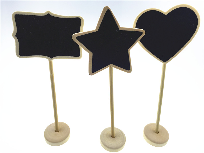 """10pcs/lot 3"""" Natural Wood Scallop Chalkboard on Stand Food Labels Markers Candy Buffet Table Birthday Bridal Showers Decors"""