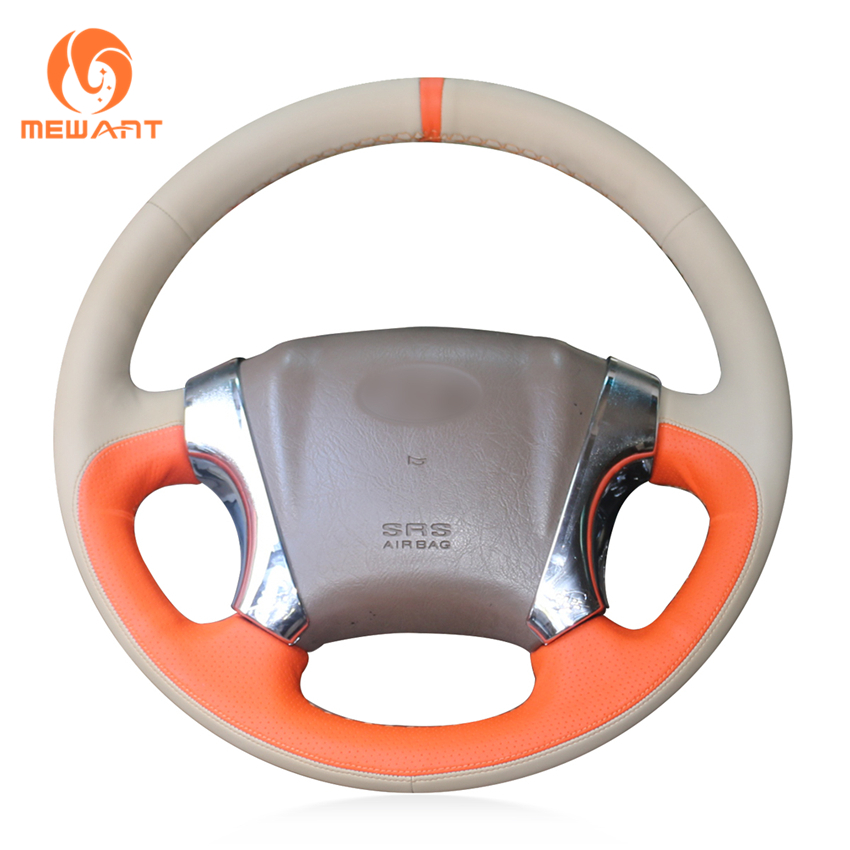 MEWANT Beige Orange Leather Car Steering Wheel Cover for Hyundai Tucson 2005 2006 2007 2008 2009 цена
