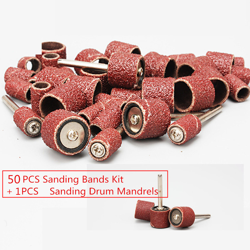 50 Pieces 1/2 Sanding Bands Kit Sleeves With 1pcs Sanding Drum Mandrels For Dremel Rotary Tools Grit P80~P600