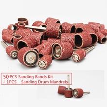 50 stuks 1/2 Schuren Bands Kit Mouwen met 1 stks Schuren Drum Spillen voor Dremel Rotary Gereedschap Grit P80 ~ p600