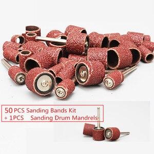 Image 1 - 50 stuks 1/2 Schuren Bands Kit Mouwen met 1 stks Schuren Drum Spillen voor Dremel Rotary Gereedschap Grit P80 ~ p600
