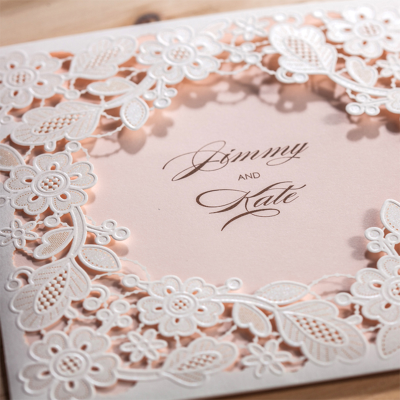 Customize Pattern Card Flower White Laser Cut Invitations For Wedding Pink Blank Inside Cards Printing Lace invitation square design white laser cut invitations kit blanl paper printing wedding invitation card set send envelope casamento convite