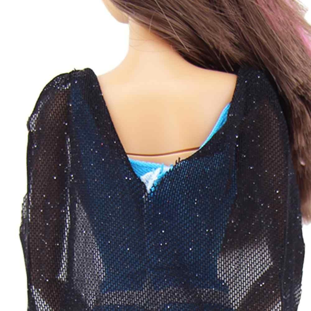 ... 1 Pcs Fashion Outfit Copy Superwoman Black Cloak Blue Jumpsuit Dinner  Party Wear Clothes For Barbie ... d7db07e51df5