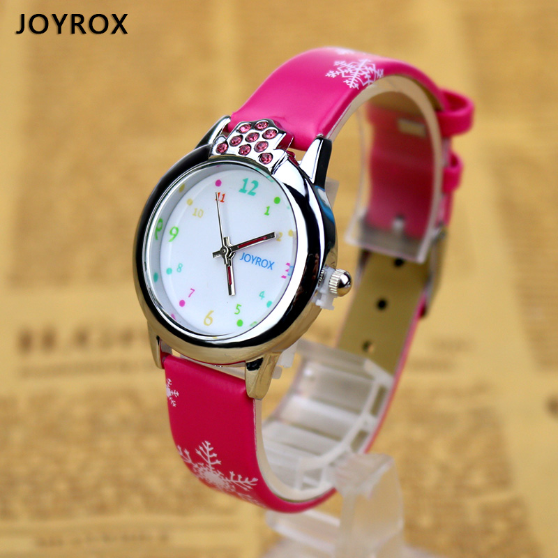 цены JOYROX 6 Colors Children Wrist Watch 2018 New Cartoon Quartz Child Kids Watches For Girls High Quality Leather Strap Boys Clock