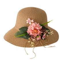 Модная летняя детская Цветочная дышащая шляпа соломенная солнцезащитная Кепка для мальчиков и девочек, одноцветные пляжные кепки в рыбацком стиле для фотосъемки