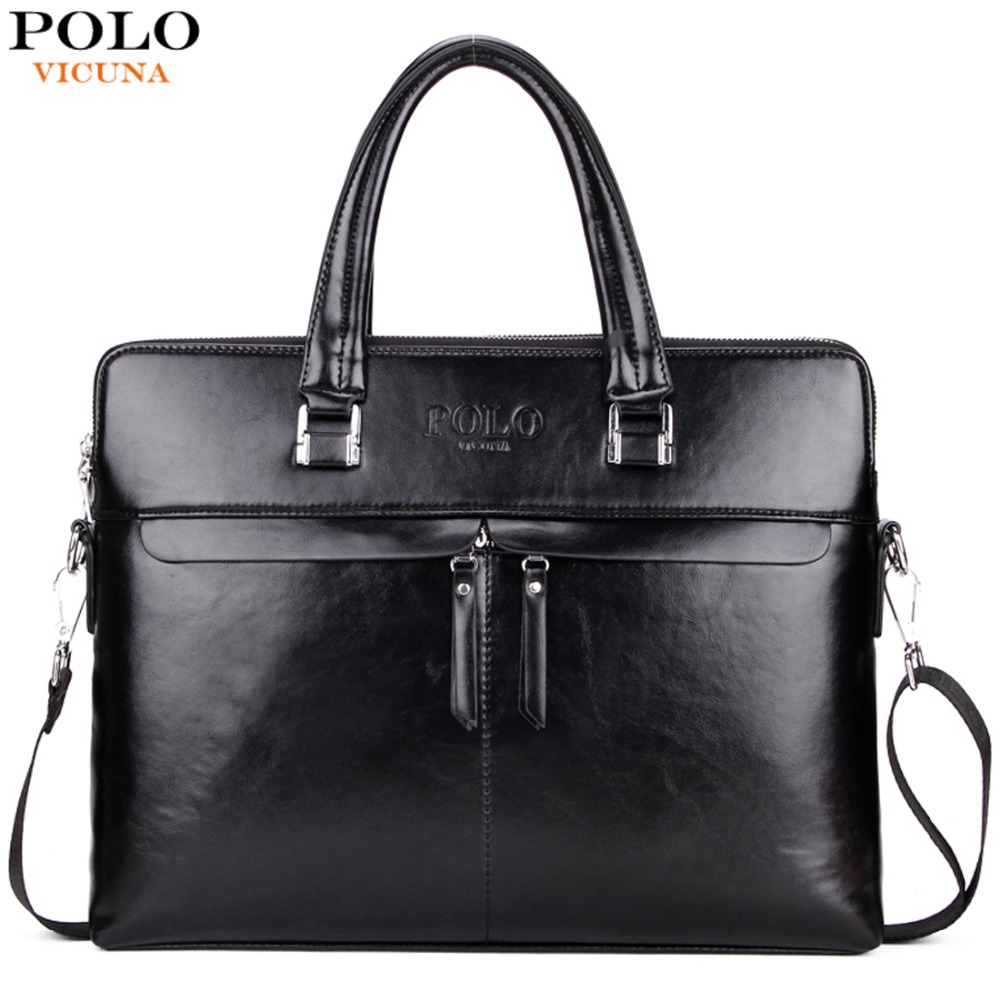 VICUNA POLO Luxury Business Men Leather Briefcase Famous Brand Casual bolsa masculina Man Handbag Hot Sell Shoulder Bag For Men vicuna polo new arrival brand business men s shoulder bag square design casual men bag promotion leisure messenger bag top sell