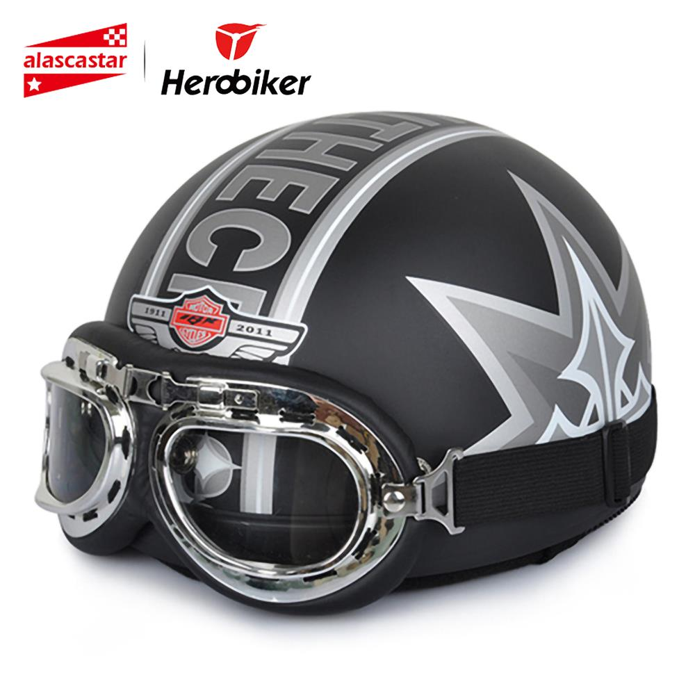 Nieuwe Motorcycle Street Riding Open Face Half Helm Vintage National Flag Chopper Cruiser Biker Scooterhelm & Bril & Visor