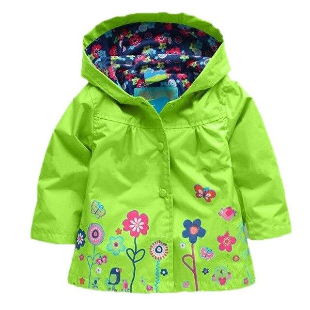 2016 Дети Дети Девушки Цветы С Капюшоном Водонепроницаемый Ветрозащитный Плащ пальто