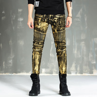 hot autumn and winter paint gold coating motorcycle locomotive Biker jeans men Slim stretch Denim Jeans Skinny Jeans Men