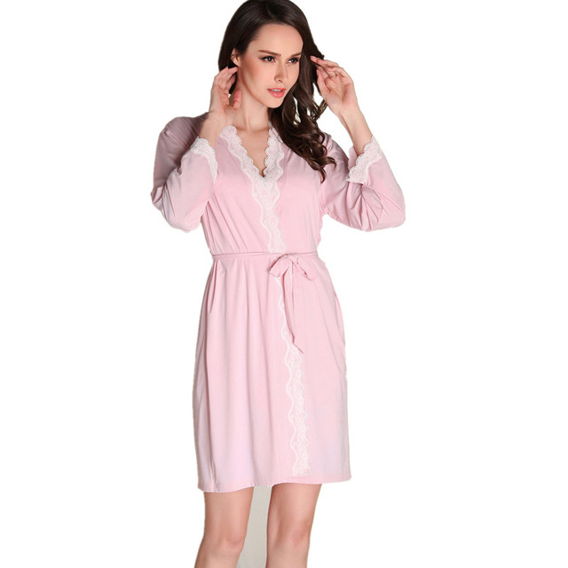 New Arrival 2017 Women Lace Strap Dress Sleepwear Robes Twinset Nightwear Pink Full Sleeve Satin Silk Nightwear