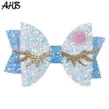 AHB Hair Accessories 3 Cute Eyelash Hair Bows for Girls Glitter Hair Clips Hairgrips Kids Handmade Boutique Girls Hair Pins цена