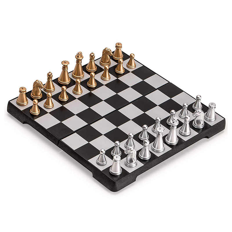 Mini 16.5x16.5cm Magnetic Foldable Chess Set Gold & Silver Portable For Travel Board Game Complete Playing Pieces Included