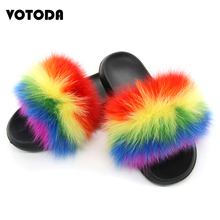 Women Fur Slippers Fox fur Slides Hair Flip Flops Fluffy Flat Furry  House Slipper Woman Sandals 2019 Brand Luxury Shoes