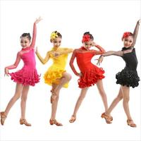 Hot Sale Long Sleeve Sequin Sexy Lace Child Girls Kids Latin Salsa Dresses Yellow Hot Pink